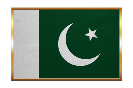 proportion: Pakistani national official flag. Patriotic symbol, banner, element, background. Correct colors. Flag of Pakistan , golden frame, fabric texture, illustration. Accurate size, color