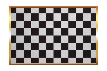 checked flag: Checkered racing flag. Symbolic design of end of car race. Black and white background. Checkered flag , golden frame, fabric texture, illustration. Accurate size, color