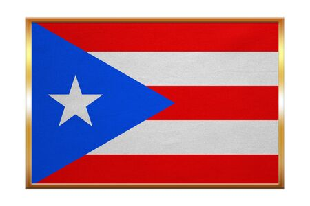 Puerto Rican national official flag. Patriotic symbol, banner, element, background. Correct colors. Flag of Puerto Rico , golden frame, fabric texture, illustration. Accurate size, color