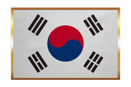 korean national: South Korean national official flag. Patriotic symbol, banner, element, background. Correct colors. Flag of South Korea , golden frame, fabric texture, illustration. Accurate size, color Stock Photo