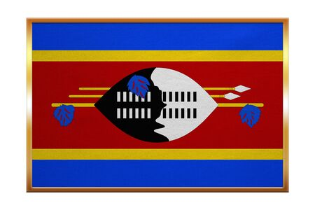 proportion: Swazi national official flag. African patriotic symbol, banner, element, background. Correct colors. Flag of Swaziland , golden frame, fabric texture, illustration. Accurate size, color