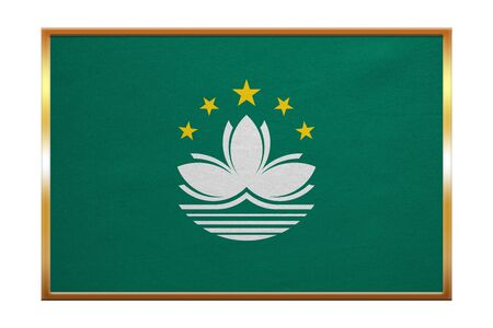 prc: Macanese official flag. Patriotic chinese symbol, banner, element, background. Macau is special region of PRC. Correct colors. Flag of Macau, golden frame, fabric texture, illustration. Accurate size