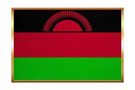 Malawian national official flag. African patriotic symbol, banner, element, background. Correct colors. Flag of Malawi , golden frame, fabric texture, illustration. Accurate size, color