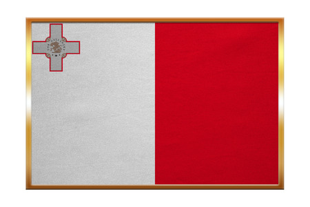 proportion: Maltese national official flag. Patriotic symbol, banner, element, background. Correct colors. Flag of Malta , golden frame, fabric texture, illustration. Accurate size, color