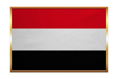proportion: Yemeni national official flag. Patriotic symbol, banner, element, background. Correct colors. Flag of Yemen , golden frame, fabric texture, illustration. Accurate size, color