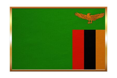 zambian flag: Zambian national official flag. African patriotic symbol, banner, element, background. Correct colors. Flag of Zambia , golden frame, fabric texture, illustration. Accurate size, color Stock Photo