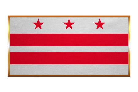 district of columbia: Flag of the District of Columbia. American patriotic element. USA banner. United States of America symbol. Washington, D.C. official flag, golden frame fabric texture illustration. Accurate size color