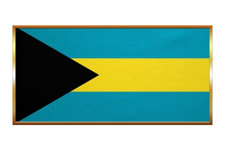 bahamian: Bahamian national official flag. Patriotic symbol, banner, element, background. Correct colors. Flag of Bahamas , golden frame, fabric texture, illustration. Accurate size, colors Stock Photo