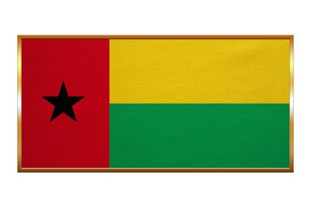 guinea bissau: Bissau-Guinean national official flag. Patriotic symbol, banner, element, background. Correct colors. Flag of Guinea-Bissau , golden frame, fabric texture, illustration. Accurate size, colors Stock Photo