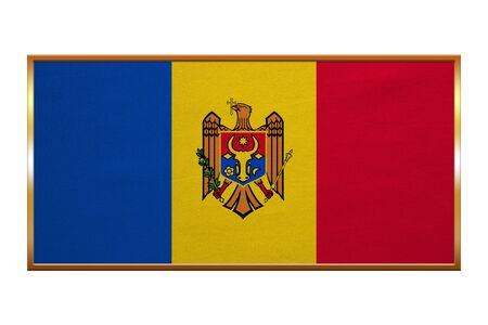 moldovan: Moldovan national official flag. Patriotic symbol, banner, element, background. Correct colors. Flag of Moldova , golden frame, fabric texture, illustration. Accurate size, colors