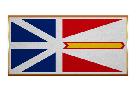 nl: Canadian provincial NL patriotic element and official symbol. Canada banner and background. Flag of the Canadian province of Newfoundland and Labrador, golden frame, illustration. Accurate size, color Stock Photo