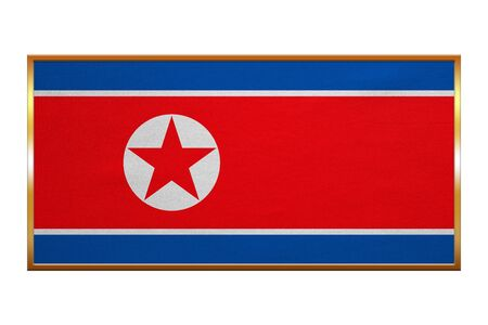 korean national: North Korean national official flag. Patriotic DPRK symbol, banner, element, background. Correct colors. Flag of North Korea , golden frame, fabric texture, illustration. Accurate size, colors