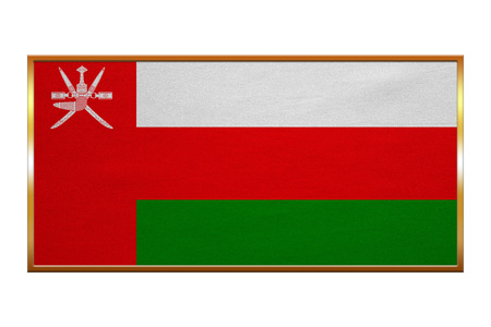 proportion: Omani national official flag. Patriotic symbol, banner, element, background. Correct colors. Flag of Oman , golden frame, fabric texture, illustration. Accurate size, colors