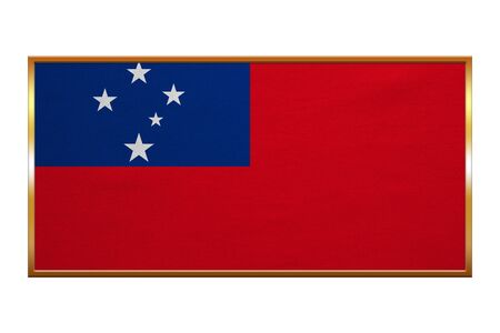 Samoan national official flag. Patriotic symbol, banner, element, background. Correct colors. Flag of Samoa , golden frame, fabric texture, illustration. Accurate size, colors
