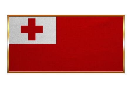 tonga: Tongan national official flag. Patriotic symbol, banner, element, background. Correct colors. Flag of Tonga , golden frame, fabric texture, illustration. Accurate size, colors
