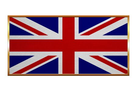 proportion: British national official flag. Patriotic UK symbol. Union Jack. Great Britain banner, element, background. Flag of the United Kingdom, golden frame, fabric texture, illustration. Accurate size, color Stock Photo
