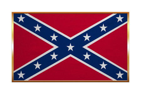 Historical national flag of the Confederate States of America. Known as Confederate Battle, Rebel, Southern Cross, Dixie flag. Patriotic symbol, banner. Flag of CSA, golden frame textured illustration