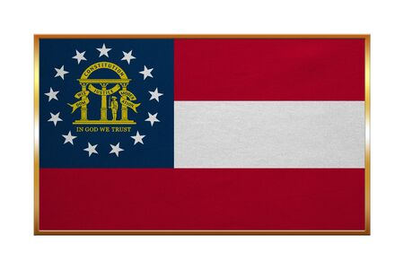 proportion: Flag of the US state of Georgia. American patriotic element. USA banner. United States of America symbol. Georgian official flag, golden frame, fabric texture, illustration. Accurate size, colors Stock Photo