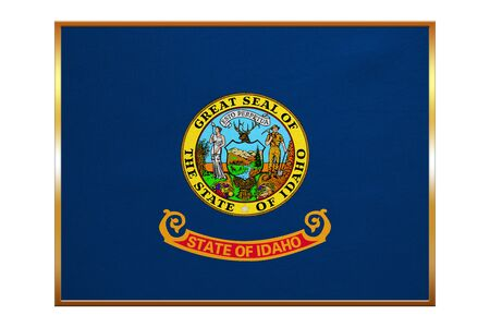 Flag of the US state of Idaho. American patriotic element. USA banner. United States of America symbol. Idahoan official flag , golden frame, fabric texture, illustration. Accurate size, colors