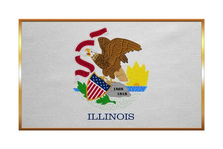 us sizes: Flag of the US state of Illinois. American patriotic element. USA banner. United States of America symbol. Illinoisan official flag , golden frame, fabric texture, illustration. Accurate size, colors