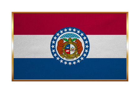 proportion: Flag of the US state of Missouri. American patriotic element. USA banner. United States of America symbol. Missourian official flag , golden frame, fabric texture, illustration. Accurate size, colors Stock Photo