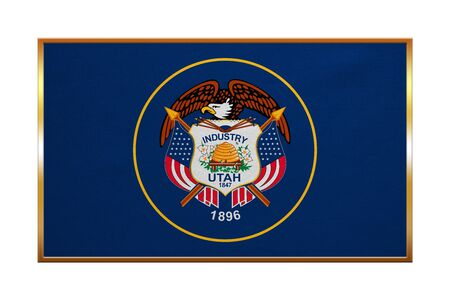 proportion: Flag of the US state of Utah. American patriotic element. USA banner. United States of America symbol. Utahn official flag , golden frame, fabric texture, illustration. Accurate size, colors Stock Photo