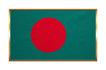 Bangladeshi national official flag. Patriotic symbol, banner, element, background. Correct colors. Flag of Bangladesh with golden frame, fabric texture, illustration. Accurate size, color Stock Photo