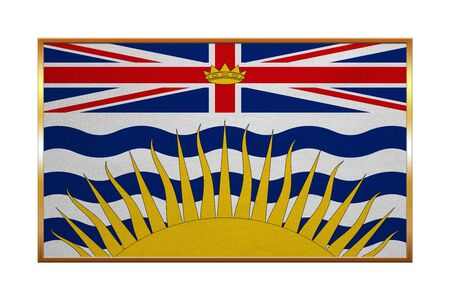 Canadian provincial BC patriotic element and official symbol. Canada banner and background. Flag of the Canadian province of British Columbia, golden frame textured illustration. Accurate size, colors