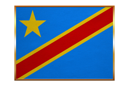 DR Congo national official flag. African patriotic symbol, banner, element, background. Flag of Democratic Republic of the Congo with golden frame, fabric texture, illustration. Accurate size, colors