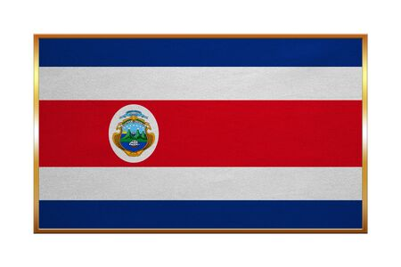 proportion: Costa Rican national official flag. Patriotic symbol, banner, element, background. Correct colors. Flag of Costa Rica with golden frame, fabric texture, illustration. Accurate size, color
