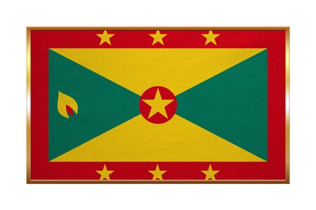 proportion: Grenadian national official flag. Patriotic symbol, banner, element, background. Correct colors. Flag of Grenada with golden frame, fabric texture, illustration. Accurate size, color
