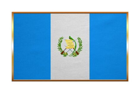 guatemalan: Guatemalan national official flag. Patriotic symbol, banner, element, background. Correct colors. Flag of Guatemala with golden frame, fabric texture, illustration. Accurate size, color