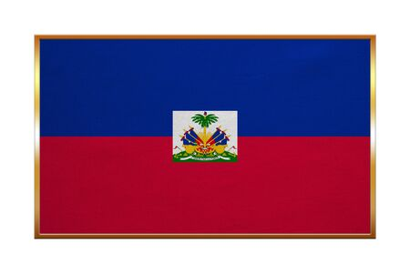 Haitian national official flag. Patriotic symbol, banner, element, background. Correct colors. Flag of Haiti with golden frame, fabric texture, illustration. Accurate size, color