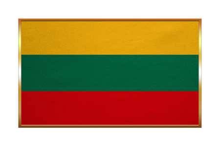 proportion: Lithuanian national official flag. Patriotic symbol, banner, element, background. Correct colors. Flag of Lithuania with golden frame, fabric texture, illustration. Accurate size, color