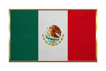 golden texture: Mexican national official flag. Patriotic symbol, banner, element, background. Correct colors. Flag of Mexico with golden frame, fabric texture, illustration. Accurate size, color