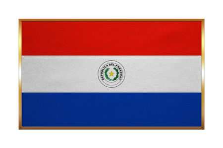 proportion: Paraguayan national official flag. Patriotic symbol, banner, element, background. Correct colors. Flag of Paraguay with golden frame, fabric texture, illustration. Accurate size, color