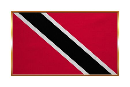 trinidadian: Trinidadian and Tobagonian national official flag. Patriotic symbol, banner, element, background. Correct colors. Flag of Trinidad and Tobago, golden frame, fabric texture, illustration. Accurate size