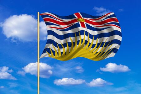 Canadian provincial BC patriotic element and official symbol. Canada banner. Flag of the Canadian province of British Columbia on flagpole waving in the wind, blue sky background. Fabric texture