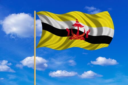 Bruneian national official flag. Patriotic symbol, banner, element, background. Correct colors. Flag of Brunei on flagpole waving in the wind, blue sky background. Fabric texture Stock Photo