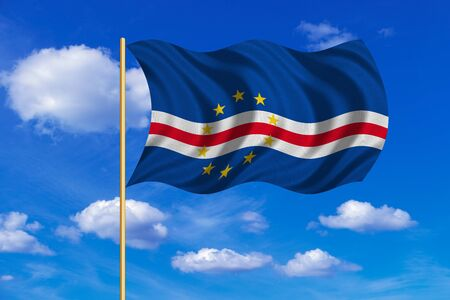 Cape Verdean national official flag. African patriotic symbol, banner, element, background. Correct colors. Flag of Cape Verde on flagpole waving in the wind, blue sky background. Fabric texture
