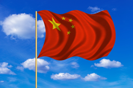 prc: Chinese national flag. Symbol of the Peoples Republic of China. Patriotic PRC background design. Correct colors. Flag of China on flagpole waving in the wind, blue sky background. Fabric texture Stock Photo