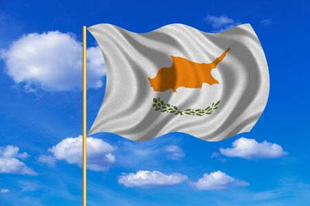 Cypriot national official flag. Patriotic symbol, banner, element, background. Correct colors. Flag of Cyprus on flagpole waving in the wind, blue sky background. Fabric texture