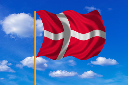 danish flag: Danish national official flag. Patriotic symbol, banner, element, background. Correct colors. Flag of Denmark on flagpole waving in the wind, blue sky background. Fabric texture