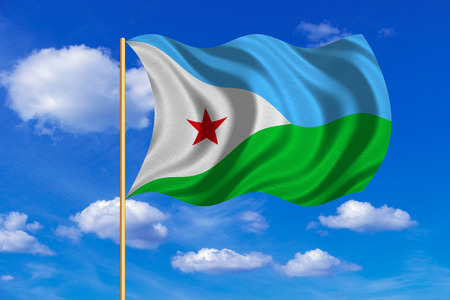 djibouti: Djiboutian national official flag. African patriotic symbol, banner, element, background. Correct colors. Flag of Djibouti on flagpole waving in the wind, blue sky background. Fabric texture