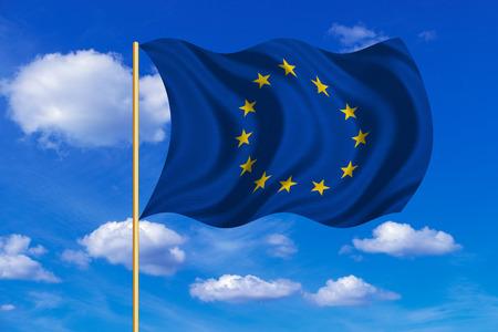 Officiële vlag van de Europese Unie. Patriotic EU-symbool. banner, element, ontwerp, achtergrond. Juiste kleuren. Vlag van Europa over vlaggenmast wappert in de wind, blauwe hemel achtergrond. Fabric texture Stockfoto - 66360947