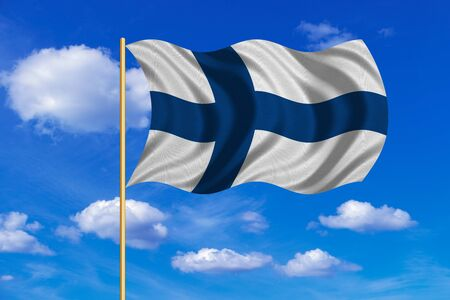 flagstaff: Finnish national official flag. Patriotic symbol, banner, element, background. Correct colors. Flag of Finland on flagpole waving in the wind, blue sky background. Fabric texture