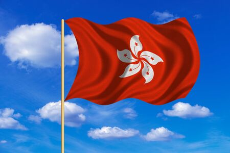 prc: Hong Kongese official flag. Patriotic chinese symbol, banner. Hong Kong is special region of PRC. Correct colors. Flag of Hong Kong on flagpole waving in the wind, blue sky background. Fabric texture Stock Photo