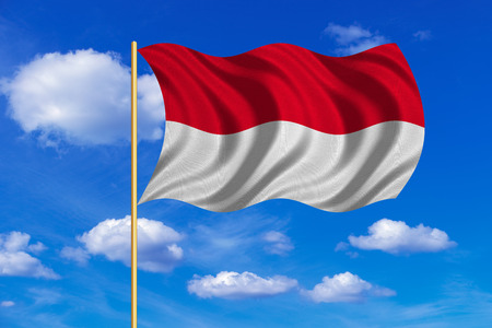 Indonesian national official flag. Patriotic symbol, banner, element, background. Correct colors. Flag of Indonesia, Monaco, Hesse on flagpole waving in the wind, blue sky background. Fabric texture