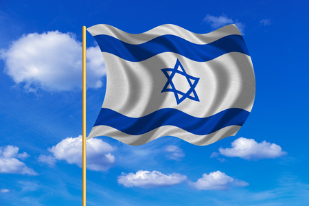 Israeli national official flag. Patriotic symbol, banner, element, background. Correct colors. Flag of Israel on flagpole waving in the wind, blue sky background. Fabric texture