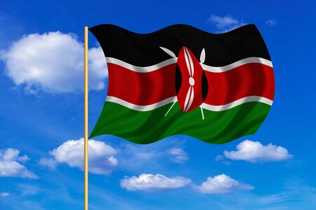 Kenyan national official flag. African patriotic symbol, banner, element, background. Correct colors. Flag of Kenya on flagpole waving in the wind, blue sky background. Fabric texture